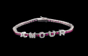 OC Forever 18K White Gold Personalized Tennis Bracelet In Rubies with AMOUR In Diamonds