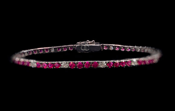 OC FOREVER 18K WHITE GOLD TENNIS BRACELET WITH WHITE DIAMONDS AND RUBIES