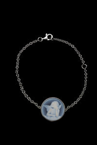 OC Kids Sterling Silver Cherub Bracelet with Blue Agate