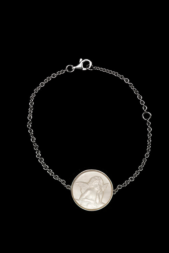 OC Kids 18K White Gold Cherub Bracelet with Mother of Pearl