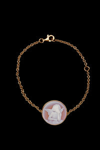 OC Kids 18K Yellow Gold Cherub Bracelet with Pink Agate
