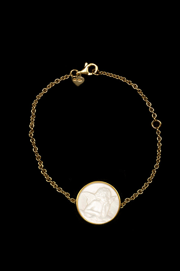 OC Kids 18K Yellow Gold Cherub Bracelet with White Mother of Pearl