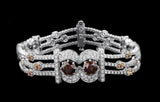 OC Limited 18K White Gold Bracelet with Brown and White Diamonds