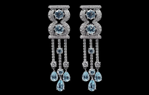 OC Limited 18K White Gold Earrings with Blue Topaz and White Diamonds