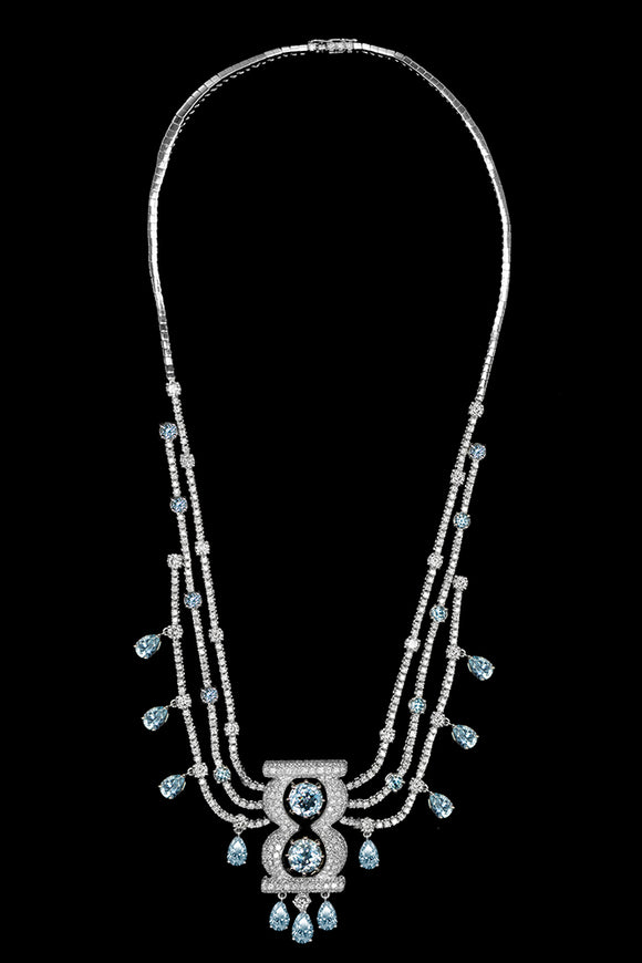 OC Limited 18K White Gold Necklace with Blue Topaz and White Diamonds