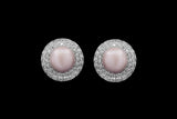 OC Pearls 18K White Gold Earrings with Pink Pearl and White Diamonds