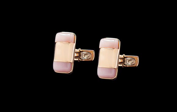OC Men's 18K Rose Gold Thing Cufflinks with Pink Quartz