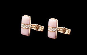 OC Men's 18K Rose Gold Thing Cufflinks with Pink Quartz and White Diamonds