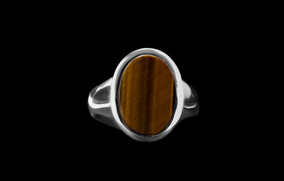 OC Men's 18K White Gold Ring with Oval Tiger's Eye