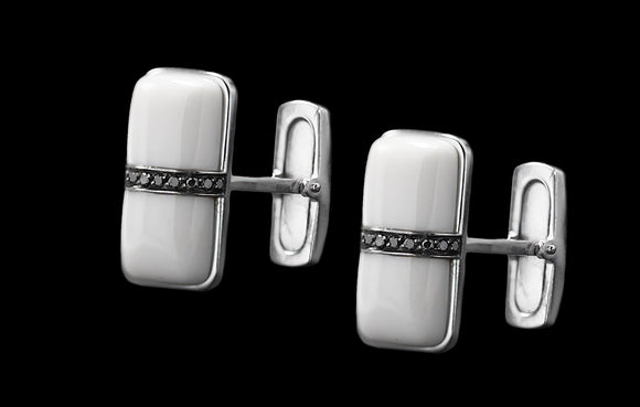 OC Men's 18K  White Gold Thing Cufflinks White Agate and Black Diamonds