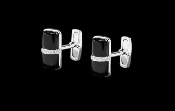 OC Men's 18K White Gold Thing Cufflinks with Black Onyx and White Diamond