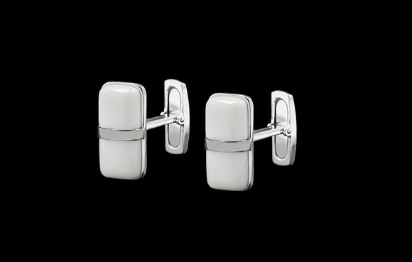 OC Men's 18K White Gold Thin Cufflinks with White Agate