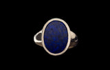 OC Men's 18K Yellow Gold Ring with Oval Lapis Lazuli