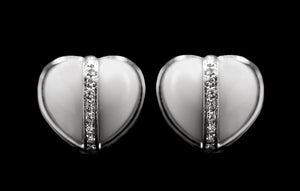 OC Romance 18K White Gold Earrings with White Agate and White Diamonds