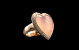 OC Romance 18K Yellow Gold Ring with Rose Quartz and White Diamonds