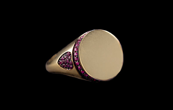 OC Signature 18K Personalized Ring with Rubies and Diamond Initials