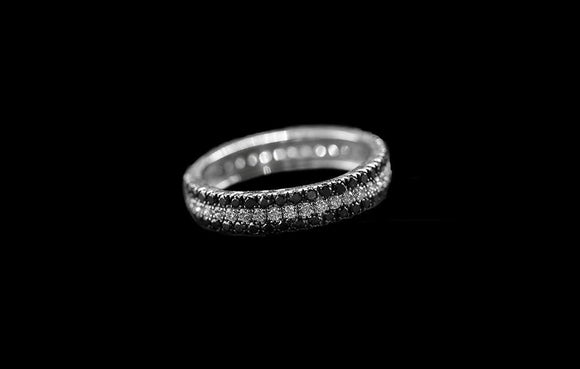 OC Slav 18K White Gold Ring with Black and White Diamonds