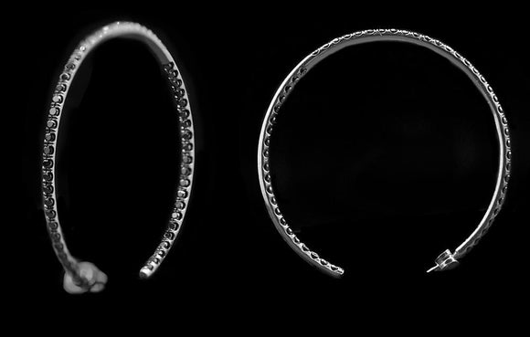 OC Slac 18K Black Gold Hoop Earrings with Diamonds