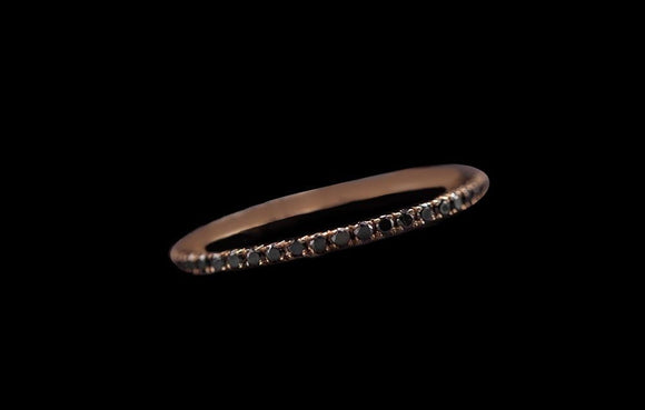 OC Slav 18K Rose Gold Stackable Bands with Black Diamonds