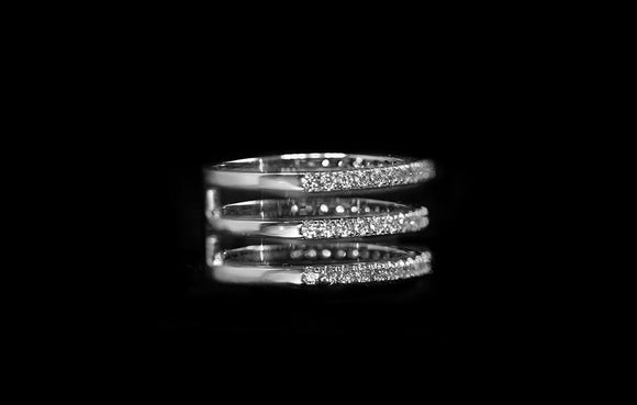 OC Slav 18K White Gold Ring with Triple White Diamond Rows