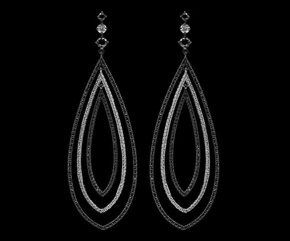 OC Slav 18K Black Gold Oval Chandelier Earrings with Black and White Diamonds