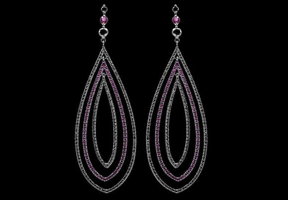 OC Slav 18K Oval Chandelier Earrings with Black Diamonds and Rubies