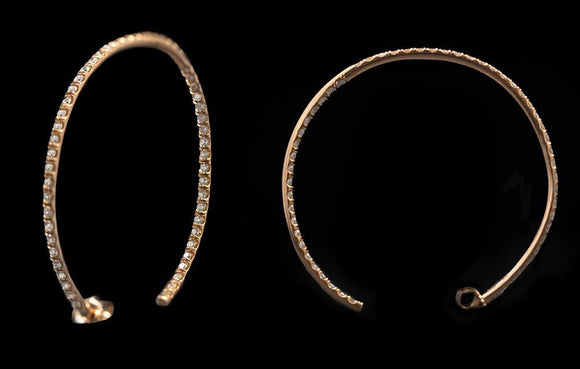OC Slav 18K Rose Gold Hoop Earrings with White Diamonds
