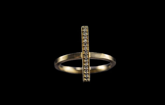 OC Slav 18K Yellow Gold Bar Ring with White Diamonds