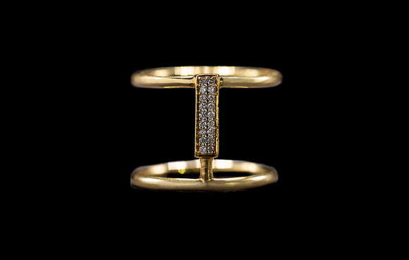 OC SLAV 18K YELLOW GOLD DOUBLE BAR RING WITH WHITE DIAMONDS