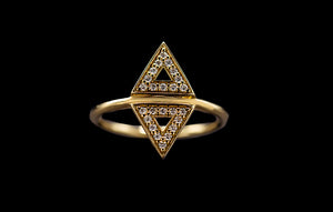 OC Slav 18K Yellow Gold Triangle Ring with White Diamonds