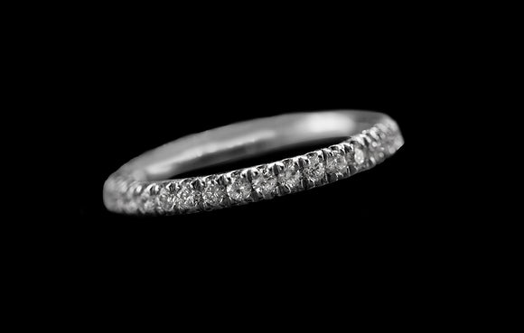 OC Slav 18K White Gold Thick Stackable Band with White Diamonds