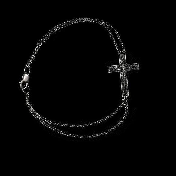 OC Symbols 18K Blackened Gold Cross Bracelet with Black Diamonds