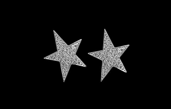 OC Symbols 18K White Gold Star Stud with White Diamonds (Only One)