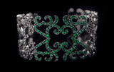 OC Tales 18K Black Gold Cuff with Black Diamonds and Emeralds