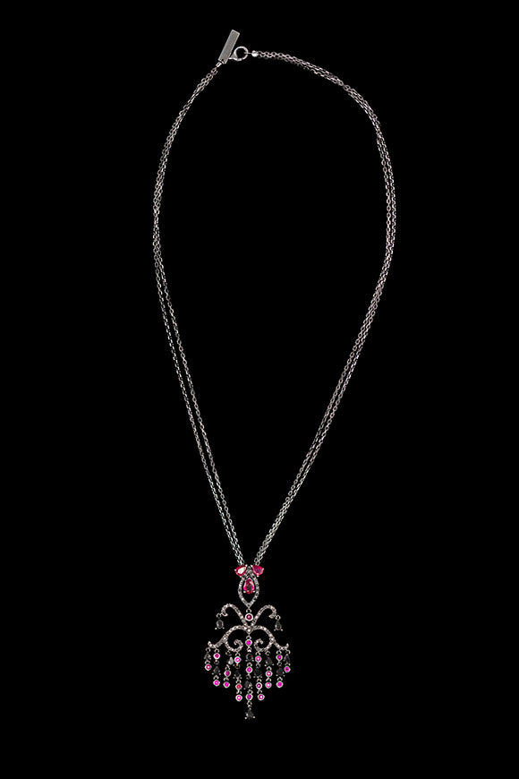 OC Tales 18K Black Gold Chandelier Necklace with Black Diamonds and Rubies