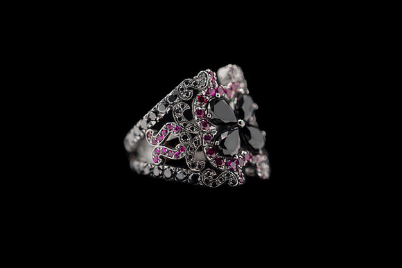 OC Tales 18K Black Gold Ring with Black Diamonds and Rubies