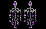 OC Tales 18K White Gold Chandelier Earrings with White Diamond and Amethyst