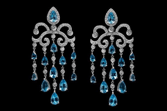 OC Tales 18K White Gold Chandelier Earrings with Blue Topaz and Diamonds