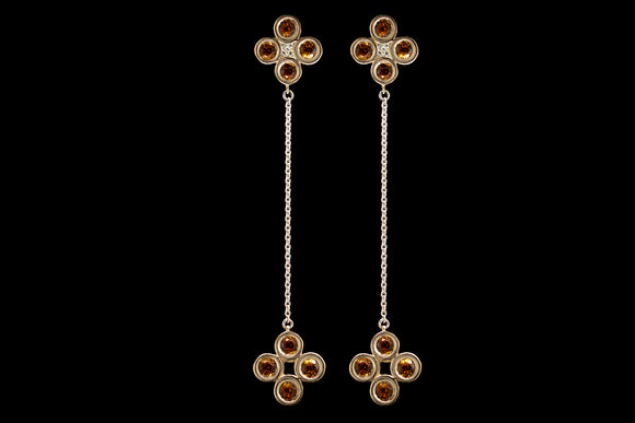 OC Urbaine 18K Yellow Gold Chain Earrings with Citrine and Champagne Diamonds