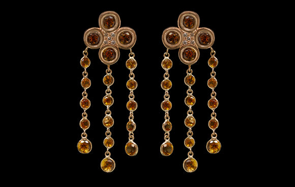 OC Urbaine 18K Yellow Gold Mini Chandelier Earrings with Citrine and Champagne Diamonds