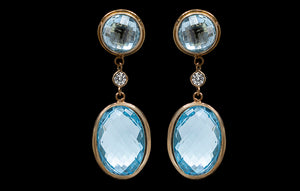 OC Vintage 18K Yellow Gold Earrings with Blue Topaz and White Diamonds