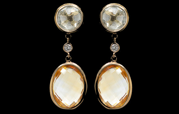OC VINTAGE 18K YELLOW GOLD GREEN AMETHYST AND CITRINE EARRINGS WITH WHITE DIAMONDS