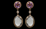 OC Vintage 18K Yellow Gold Earrings with Smoky Quartz, Amethyst and White Diamonds