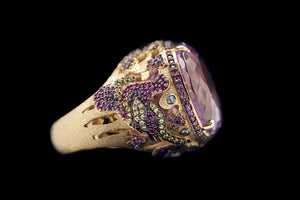 OC Wonders 18K Rose Gold Ring with Pink Amethyst and Side Sapphires, Rubies and Amethyst