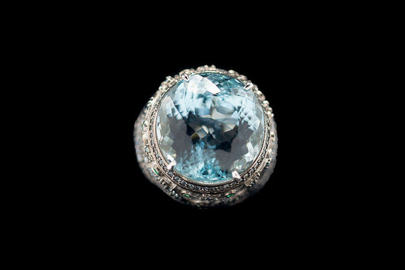 OC Wonders 18K White Gold Ring with Aquamarine