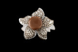 OC Wonders 18K White Gold Ring with Brown Diamonds and Brown Pearl