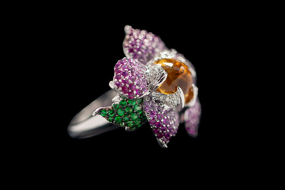 OC Wonders 18K White Gold Ring with Pink and Green Sapphires and Center Citrine