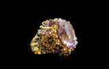 OC Wonders 18K Yellow Gold Ring with Multi-color Sapphires, Diamonds, and Center Amethyst