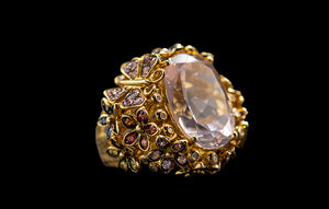 OC Wonders 18K Yellow Gold Ring with Multi-color Sapphires, Diamonds, and Center Rose Quartz