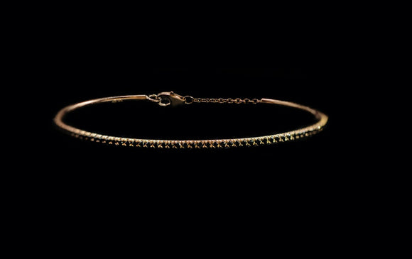 OC Slav 18K Rose Gold Bangle with Black Diamonds
